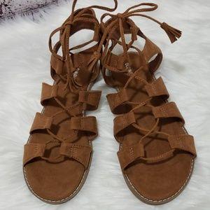 Old Navy Faux Suede Gladiator Sandals Cognac 9
